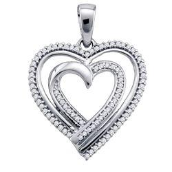 0.25 CTW Diamond Double Nested Heart Pendant 10KT White Gold - REF-25H4M