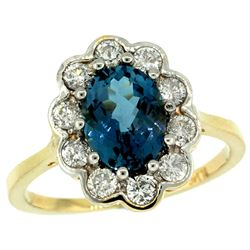 Natural 2.34 ctw London-blue-topaz & Diamond Engagement Ring 10K Yellow Gold - REF-70Z4Y