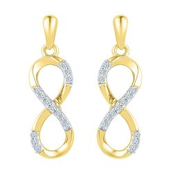0.10 CTW Diamond Infinity Dangle Screwback Earrings 10KT Yellow Gold - REF-14Y9X