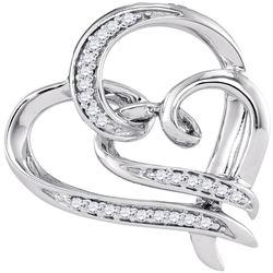 0.10 CTW Diamond Linked Double Heart Pendant 10KT White Gold - REF-18F2N