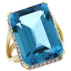 Natural 15.06 ctw Swiss-blue-topaz & Diamond Engagement Ring 10K Yellow Gold - REF-64N3G