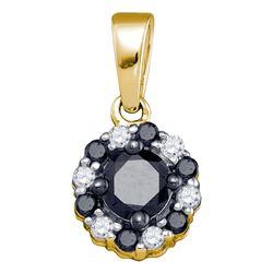 0.51 CTW Black Color Diamond Cluster Pendant 10KT Yellow Gold - REF-14X9Y