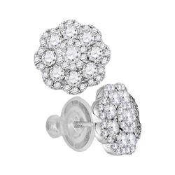 1 CTW Diamond Cluster Earrings 14KT White Gold - REF-97W4K