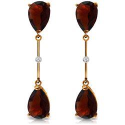 Genuine 6.01 ctw Garnet & Diamond Earrings Jewelry 14KT Rose Gold - REF-42F4Z