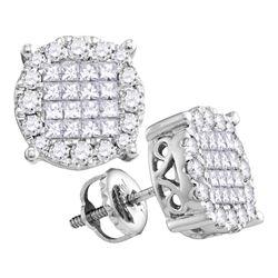 0.50 CTWPrincess Diamond Soleil Cluster Earrings 14KT White Gold - REF-52N4F