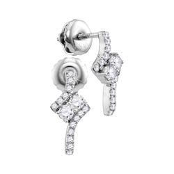 0.25 CTW Diamond 2-stone Earrings 14KT White Gold - REF-26K3W