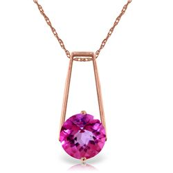 Genuine 1.45 ctw Pink Topaz Necklace Jewelry 14KT Rose Gold - REF-23N9R