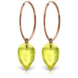 Genuine 18 ctw Quartz Lemon Earrings Jewelry 14KT Rose Gold - REF-32V4W