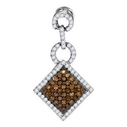 0.33 CTW Cognac-brown Color Diamond Diagonal Square Pendant 10KT White Gold - REF-14Y9X