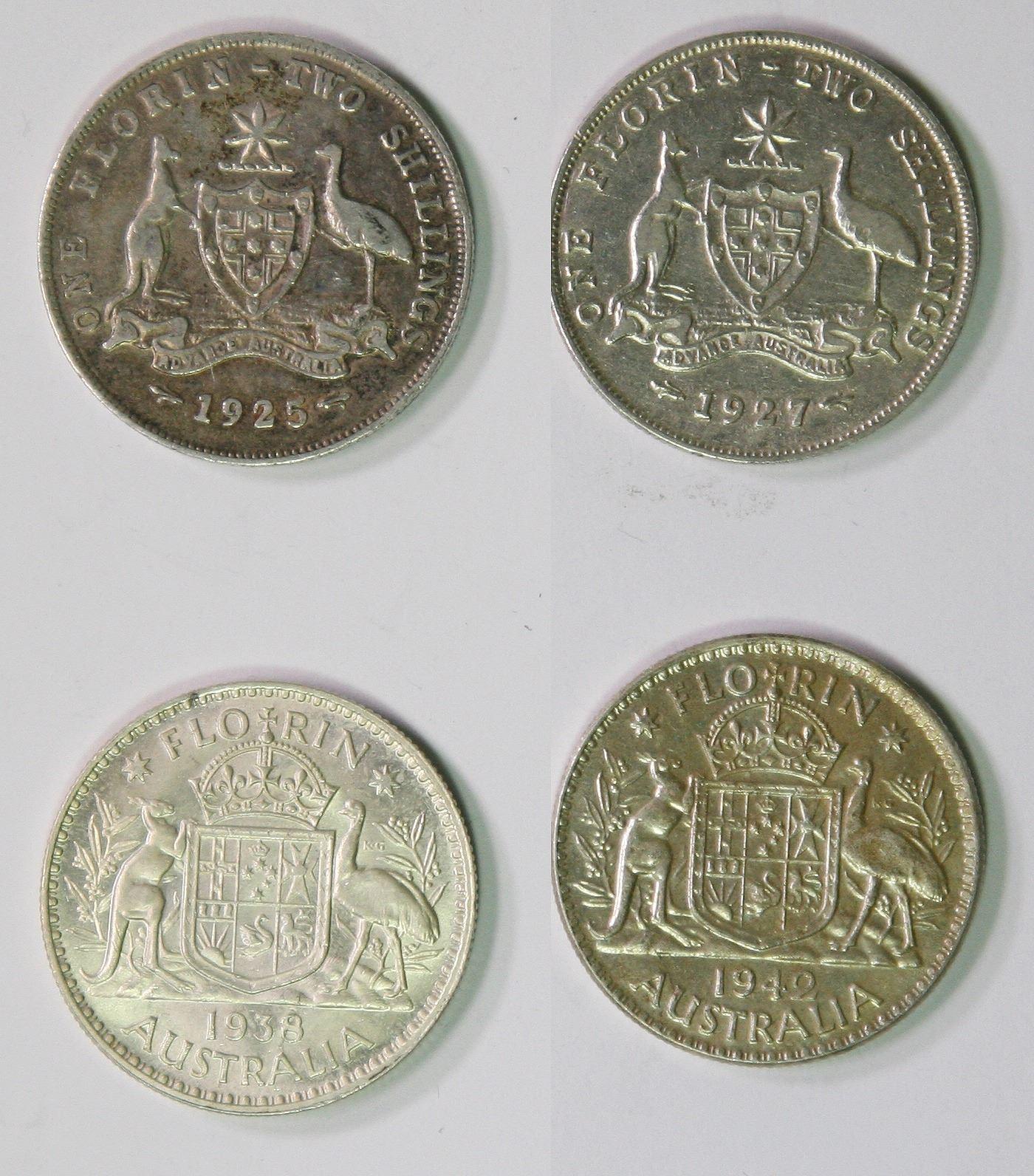 Australien & Ozeanien Kursmünzen, Einzelne Australia 1 Florin 1938 Unc