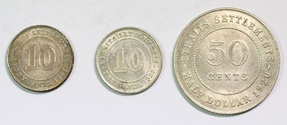 UNC 28 Available 1927 Straits Settlements 10 Cents Silver! 1 Coin Only