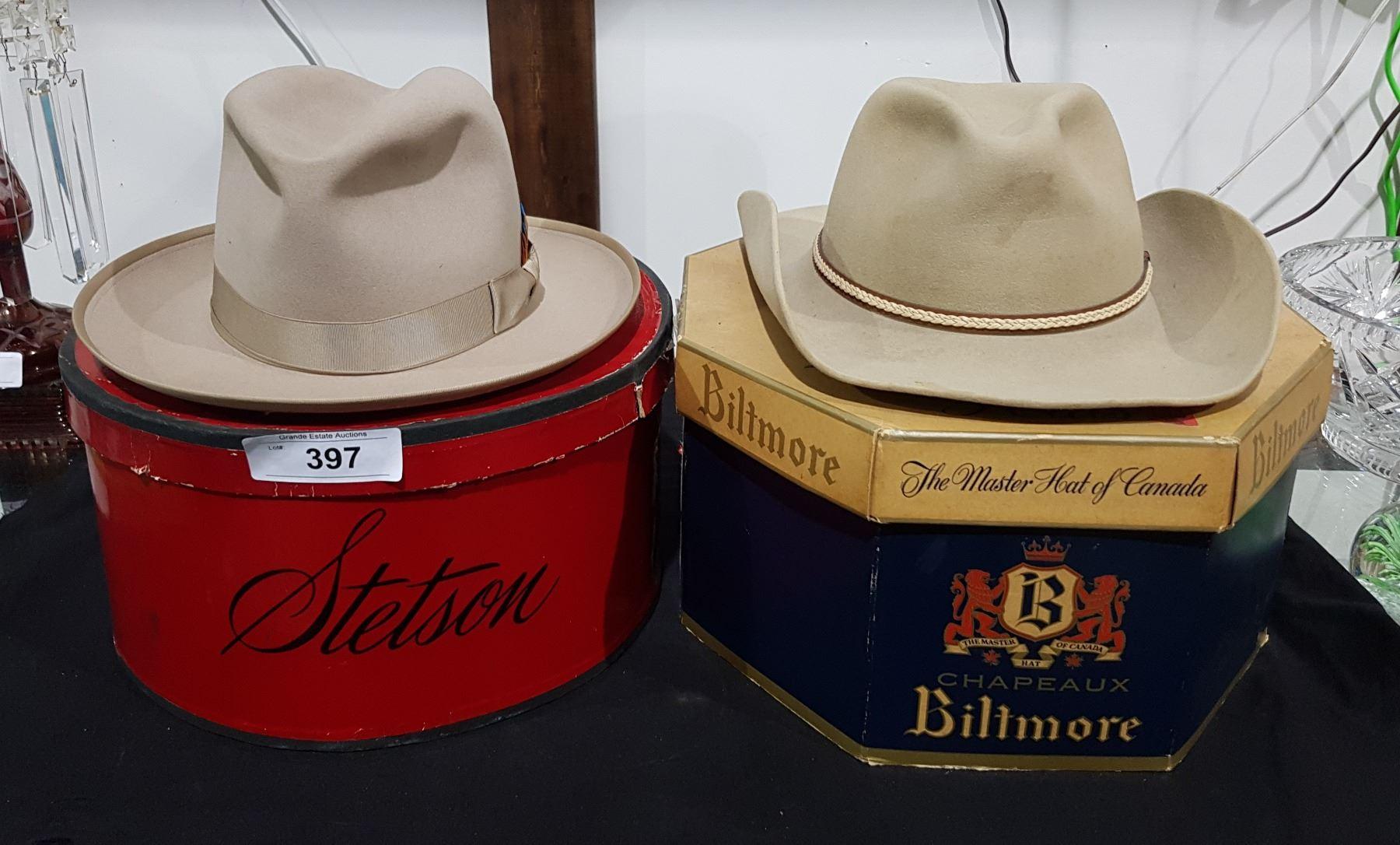 414ac3d1927434 Image 1 : VINTAGE STETSON & BEAVER COWBOY HATS IN BOXES