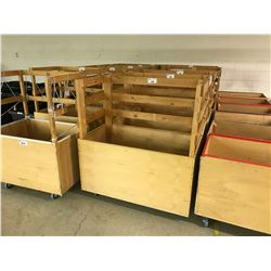"48"" X 24"" X 24"" MOBILE WOODEN GARMENT BIN WITH RACK"