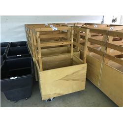 "32"" X 24"" X 24"" MOBILE WOODEN GARMENT BIN WITH RACK"