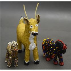 THREE ZUNI BEADED ANIMAL FIGURES