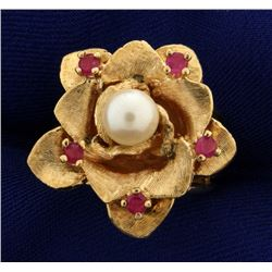 Vintage Ruby and Pearl Flower Ring