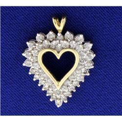 1ct Total Weight Diamond Heart Pendant