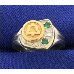 Vintage Illinois Bell Diamond and Emerald Ring