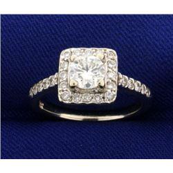 1ct TW Diamond Halo Engagement Ring