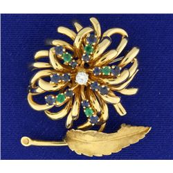 Emerald, Sapphire, and Diamond Feather/Flower Pin Brooch