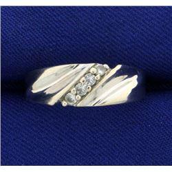 14k White Gold Diamond Wedding Band Ring