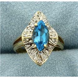 Swiss Blue Topaz and Diamond Ring
