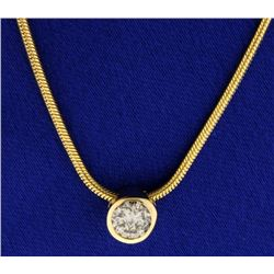 1/2 ct Diamond Pendant on 14k Gold Italian Made Chain