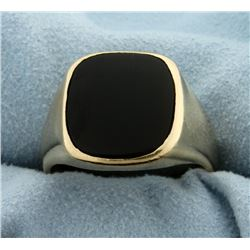 Men's Heavy Onyx Ring in 14k Yellow Gold