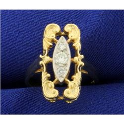 Unique Designer 3 Stone Diamond Ring in 14k Gold