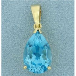 10 ct Swiss Blue Topaz Pendant in 14k Gold