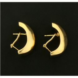 Italian Made Large Statement Half Hoop Designer Earrings in 14k Gold