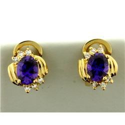 Purple Garnet and Diamond Earrings