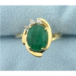 Large Cabochon Emerald and Diamond Ring in 14k Gold