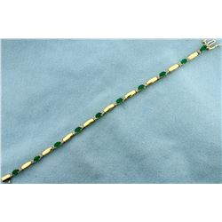 2 1/2ct TW Natural Emerald and Diamond Bracelet in 14k Gold