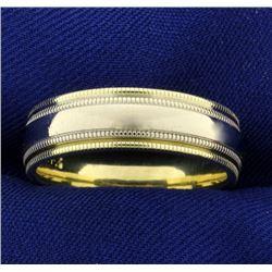 Men's Yellow and White 14k Gold Beaded Edge Wedding Band Ring