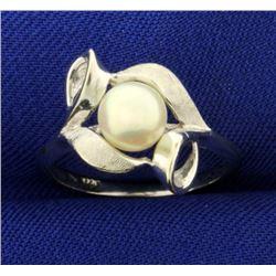 Akoya Pearl Designer Ring in 14k White Gold