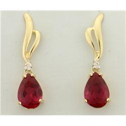 4ct TW Ruby And Diamond Drop Dangle Earrings in 14k Gold