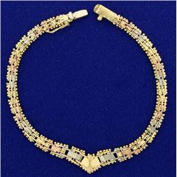 Rose, Yellow, and White 14k Gold Bracelet