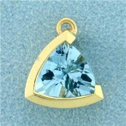 3ct Natural Aquamarine Triangular Pendant in 14k Gold
