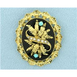 Antique Victorian Era Onyx, Seed Pearl, and Turquoise Pendant/Pin/Brooch in 14k Gold