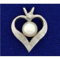Akoya Pearl and Diamond Heart Pendant in 14K White Gold