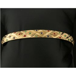 Gold Bangle Bracelet With Colored Accents To Resemble Emerald, Sapphire, and Ruby Gemstones