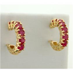 1.2 ct TW Natural Ruby Hoop Earrings in 14K Yellow Gold