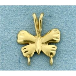 Butterfly Design Charm Holding Pendant in 14K Yellow Gold