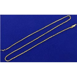 18 1/2 Inch Rope Style Neck Chain in 14K Yellow Gold
