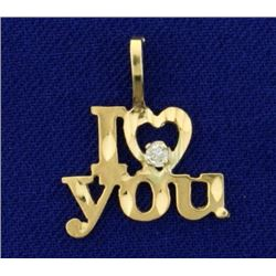 "Diamond Cut ""I Love You"" Pendant in 14K Yellow Gold With Diamond"