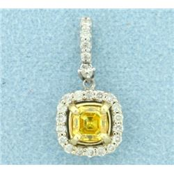 Diamond and Yellow Sapphire Pendant in 14K White and Yellow Gold
