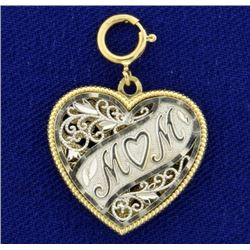 Heart Mom Pendant in 14K White and Yellow Gold