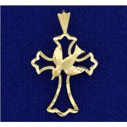 Dove and Cross Diamond Cut Pendant in 14K Yellow Gold