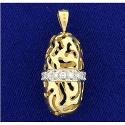 Abstract Custom Design Diamond Pendant in 14K Yellow Gold